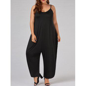 Plus Size Low Cut Spaghetti Strap Baggy Jumpsuit