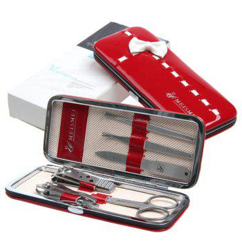 Stainless Steel Nail Scissor Clipper Bowknot Kit -  RED