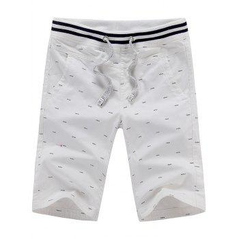 Drawstring Fish Bone Print Chino Shorts