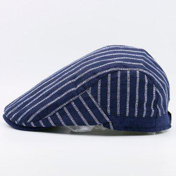 Retro Striped Flat Newsboy Hat - CERULEAN