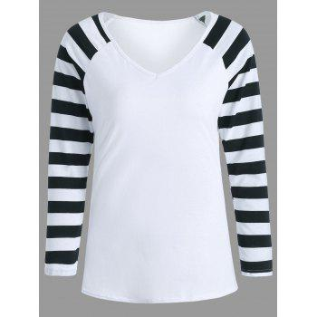 Striped Raglan Sleeve V Neck Shirt