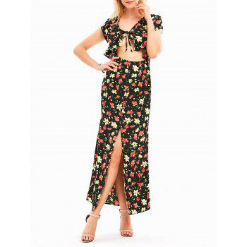 Floral High Slit Open Front Maxi Dress