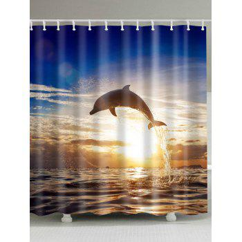 Sunset Dolphin Printed Shower Curtain For Bathroom