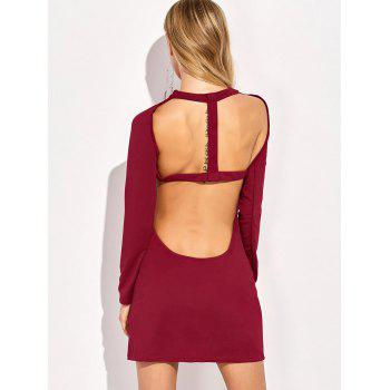 Open Back Long Sleeve Bandage Mini Dress - RED RED