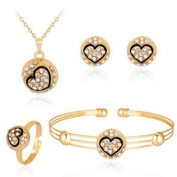Engraved Heart Necklace Bracelet Earrings with Ring Set