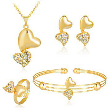 Rhinestone Doubled Heart Jewelry Set
