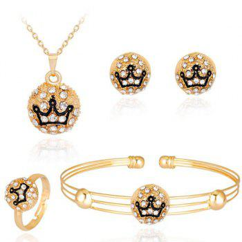 Engraved Crown Necklace Bracelet Earrings with Ring Set
