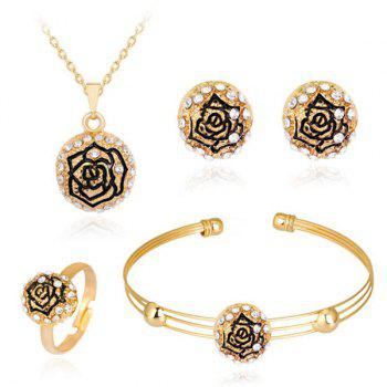 Engraved Rose Necklace Earrings Bracelet with Ring Set