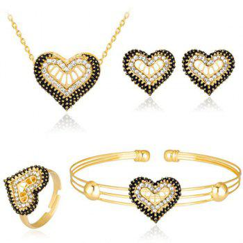 Rhinestone Heart Necklace Bracelet Ring and Earrings Set