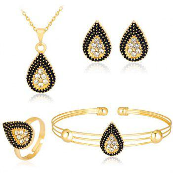 Rhinestoned Teardrop Necklace Bracelet Earrings and Ring Set