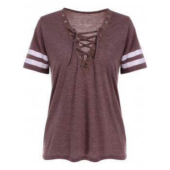 Grommet Lace Up Striped Tee