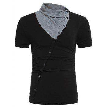 Color Block Panel Cowl Neck Oblique Buttons T-shirt
