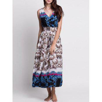 V Neck Printed Bohemian Tea Length Dress