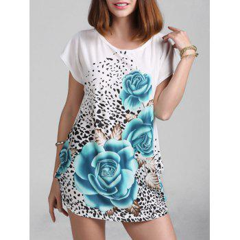 Rose Print Shift Mini Dress