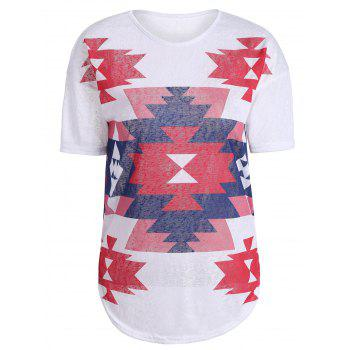 Geometric Print Knit T Shirt