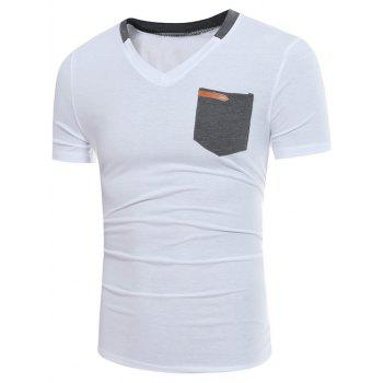 Color Block Panel V Neck Pocket Embellished T-shirt