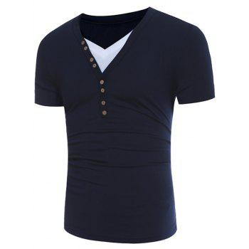 Buttons Design V Neck Color Block Panel T-shirt