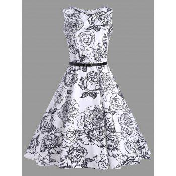 Vintage Floral Print Belted Dress