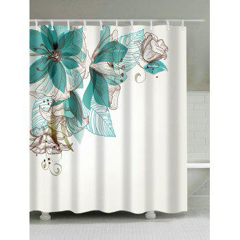 Extra Long Concise Floral Fabric Shower Curtain