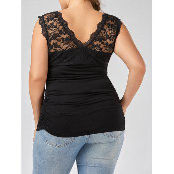 Lace Panel Plus Size Ruched Top