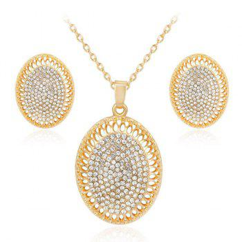 Rhinestoned Oval Necklace and Earrings Set