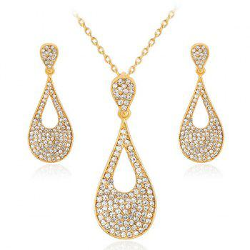 Rhinestoned Teardrop Necklace and Earrings Set