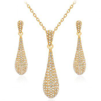 Rhinestone Teardrop Earrings with Necklace Set