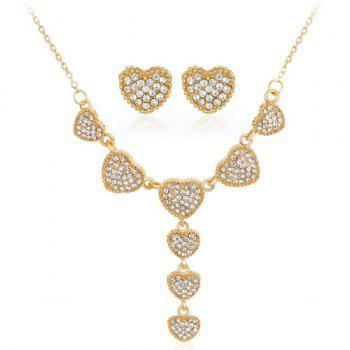 Rhinestone Heart Necklace and Earrings Set