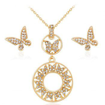 Rhinestone Butterfly Necklace with Earrings Set