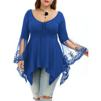 Plus Size Flare Sleeve Handkerchief Tunic Top