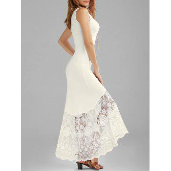 Scalloped Lace Panel Fitted Maxi Tank Dress - OFF-WHITE OFF WHITE