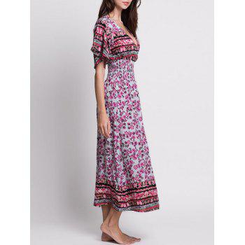 V Neck Floral Long Bohemian Dress - COLORMIX S