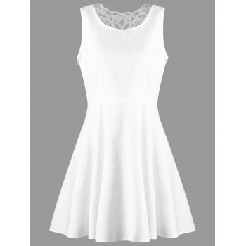 Sleeveless Butterfly Back Skater Dress - WHITE L