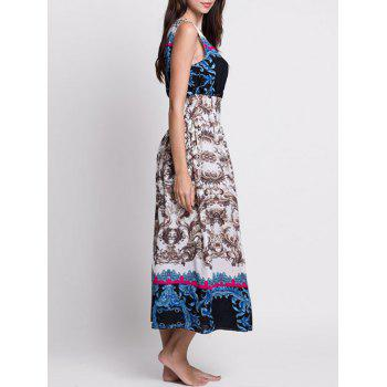 V Neck Printed Bohemian Tea Length Dress - COLORMIX M