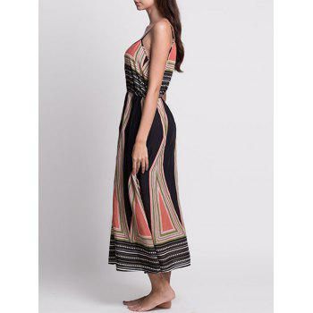 Printed Long Bohemian Slip Dress - COLORMIX M