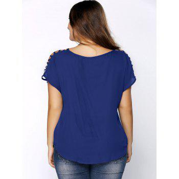 Plus Size Ripped Sleeve V Neck T-Shirt - DEEP BLUE 6XL
