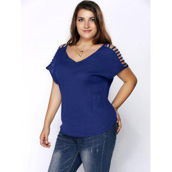 Plus Size Ripped Sleeve V Neck T-Shirt - DEEP BLUE 3XL