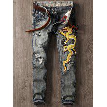 Dragon Embroidered Applique Narrow Feet Ripped Jeans