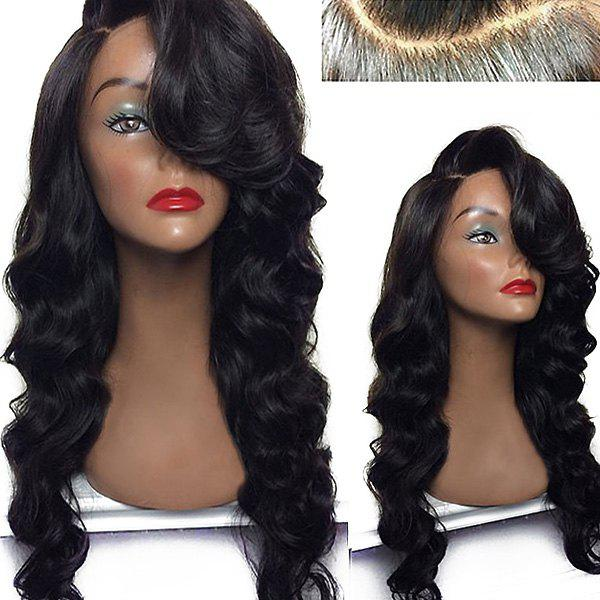 Deep Side Parting Long Body Wave Lace Front Synthetic Wig - BLACK