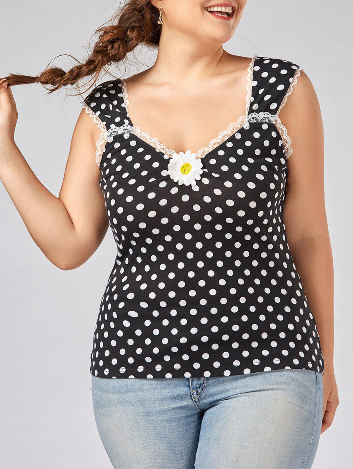 Top Patched De Polka Dot Plus Size - Polka Dot XL