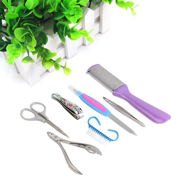 7Pcs Stainless Steel Nail Care Manicure Tools 1 Set - STAINLESS STEEL
