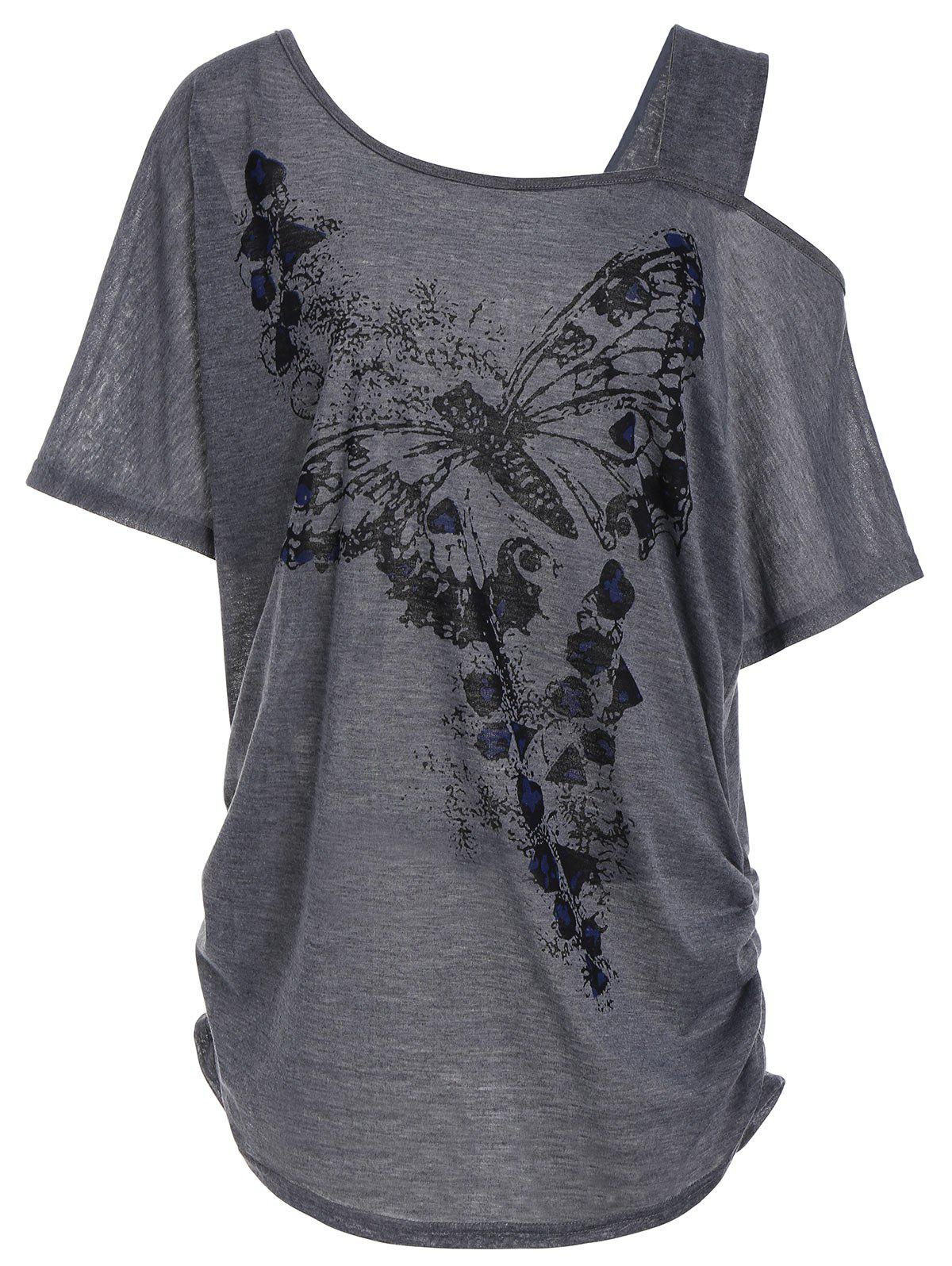 Skew Collar Butterfly Print Plus Size Tunic Top dragonfly print skew collar plus size tee
