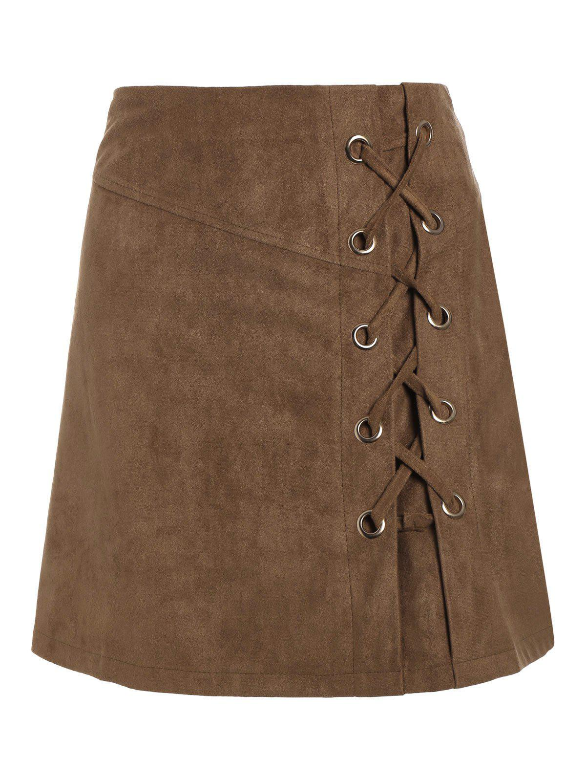 High Waist Lace Up Suede Mini Skirt - KHAKI S