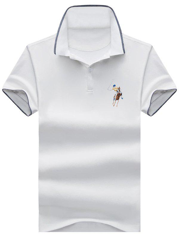 2018 Embroidery Half Button Ringer Polo Shirt White Xl In T Shirts