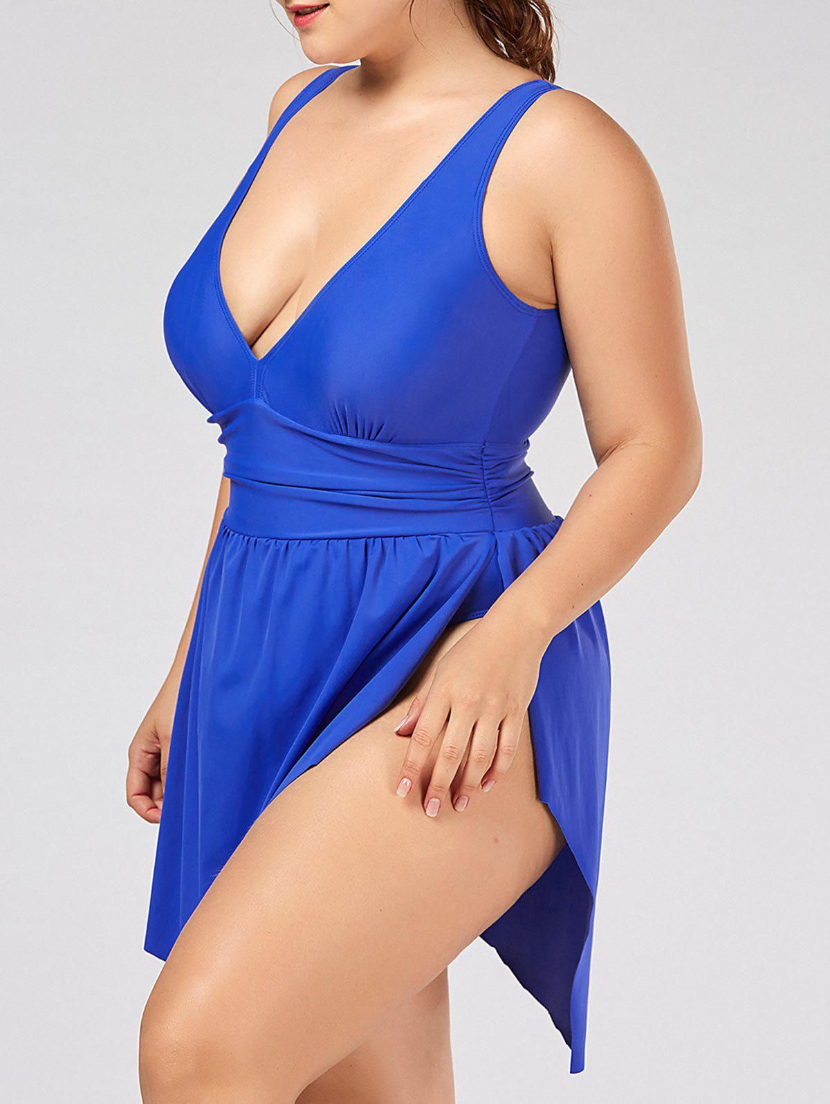 Plunging Neckline Slit Ruched One Piece Swimsuit - BLUE 5XL