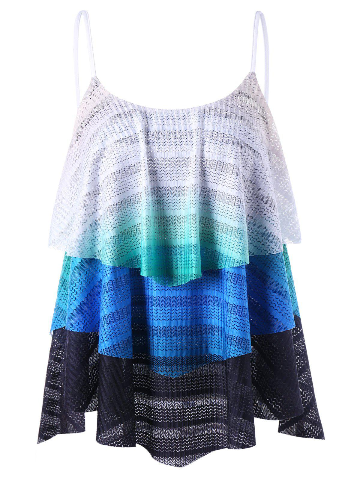 Chevron Layered Flowy Tank Top - multicolorcolore 2XL