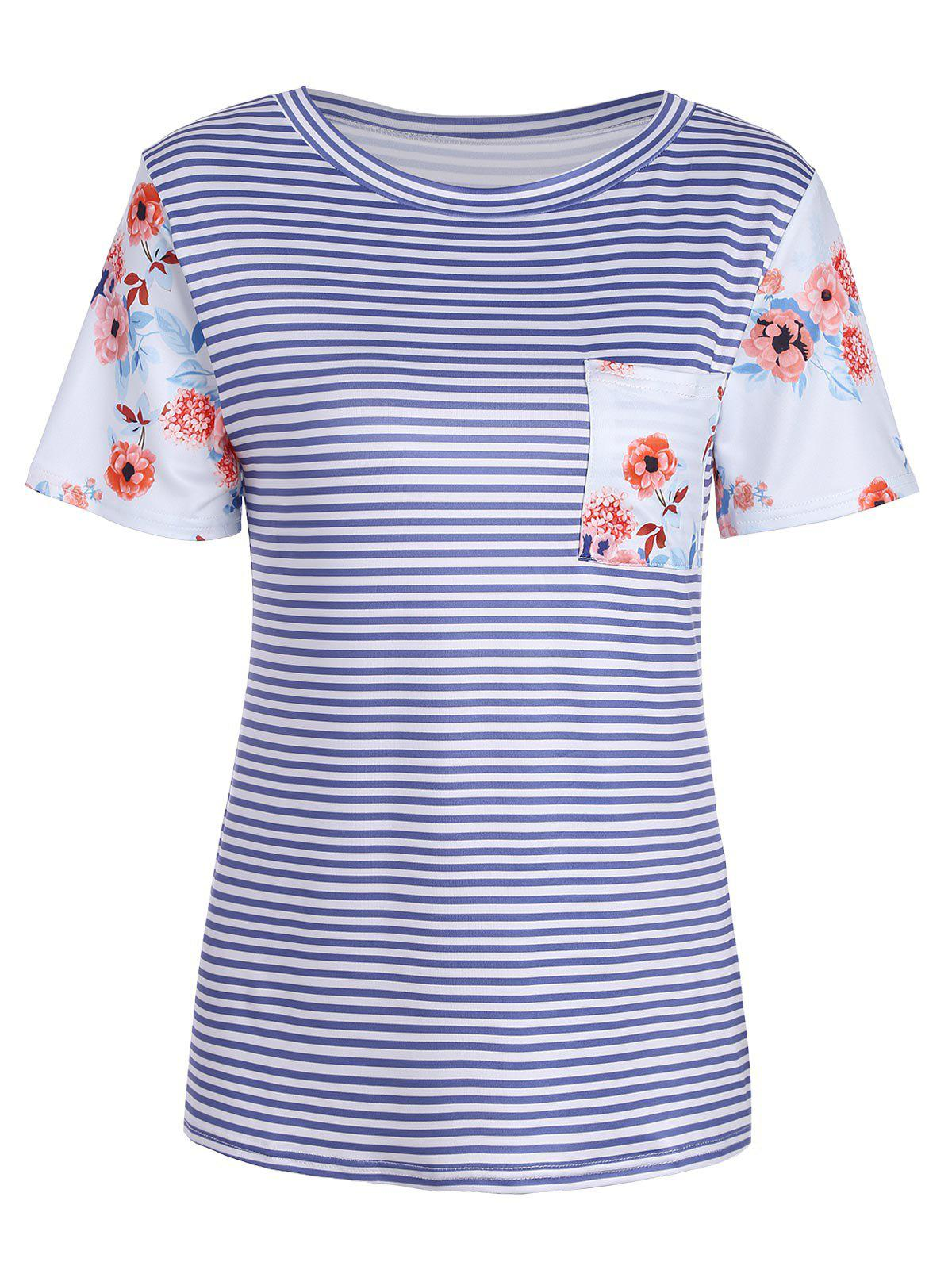 Short Sleeve Rose And Stripe Print T Shirt Blue S In