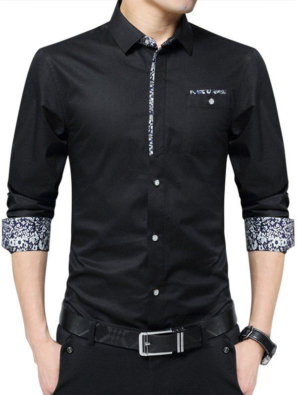 Floral Print Pocket Long Sleeve Shirt - BLACK XL