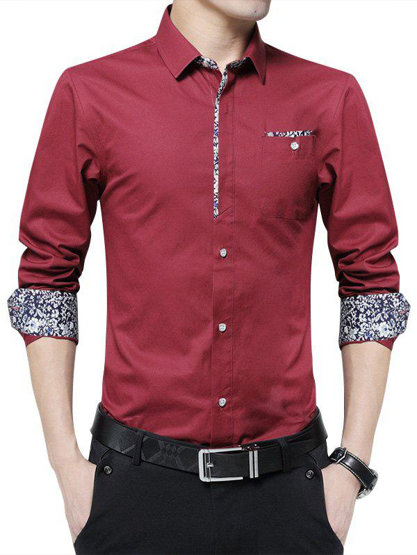 Floral Print Pocket Long Sleeve Shirt - WINE RED 3XL