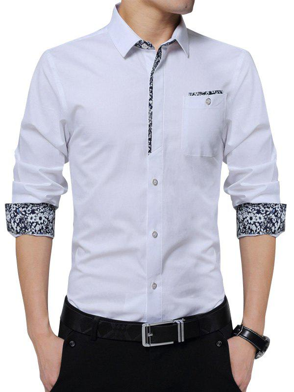 Floral Print Pocket Long Sleeve Shirt - WHITE XL
